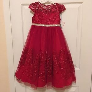 Little girls red  formal maxi dress